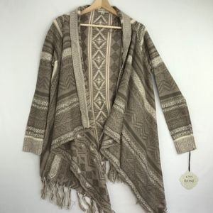 Knox Rose Open Front Fringed Cardigan Sweater M